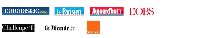 Caradisiac.com, MSN Actualit�s, Automoto.fr, Le Monde.fr, Le Parisien, Aujourd'hui.fr, Nouvel Obs.com, Lexpress.fr, Lexpansion.com, Challenges.fr